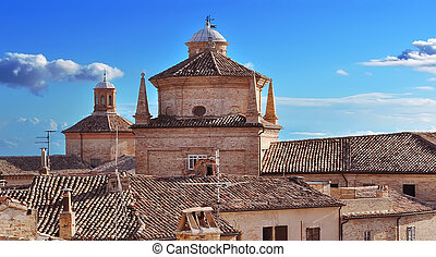 blue sky on roofs in Marche