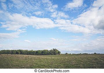 Blue sky over a prairie landscape