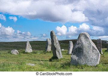 Blue sky over Callanish stone circle