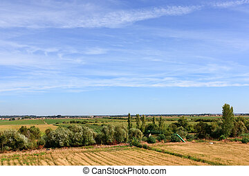 Blue sky over green field oin Portugal lowlands