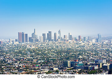 Blue sky over Los Angeles downtown, California USA