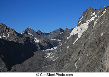 Blue sky over Mueller Glacier and mountains, New Zealand.