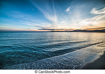 blue sky over the sea at sunset