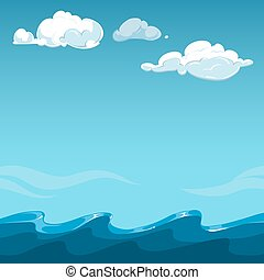 Blue sky over the sea background. Ocean outdoor and cloud,...