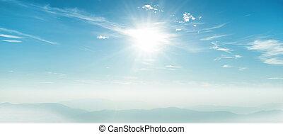 Blue sky panorama with shining sun