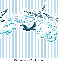 Blue sky pattern, clouds and birds