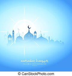 blue sky ramadan kareem background with mosque silhouette