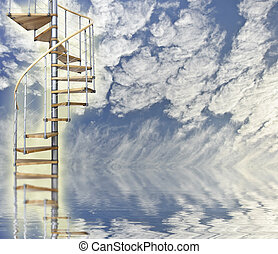 Blue sky relfected in water with spiral stairway to heaven...