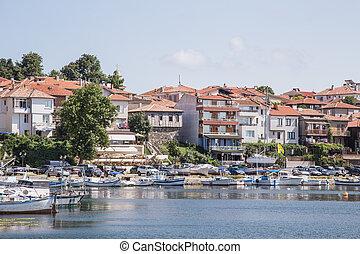 blue sky sea town