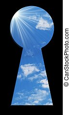 keyhole - blue sky seen through the keyhole