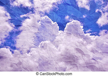 blue sky surface with l clouds on paper