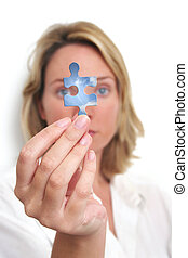 Woman looking at blue sky jigsaw piece