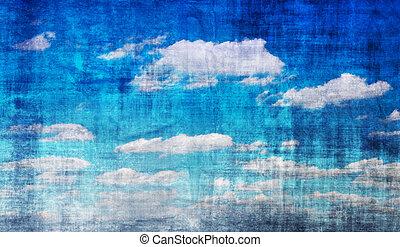 Blue sky vintage - Vintage blue sky background with many...