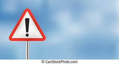 blue sky warning traffic sign