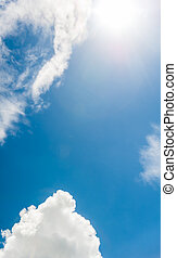 Blue sky, white clouds and sun