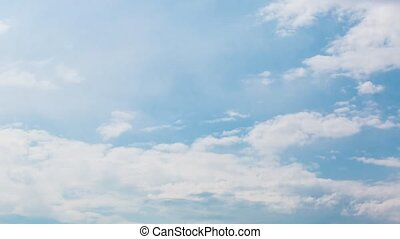 Blue sky white clouds background timelapse. Beautiful...