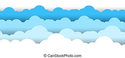 Blue Sky White Clouds Border White Background