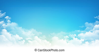 Blue sky white clouds - Early blue sky background, sunny ...