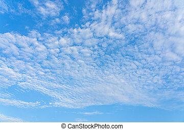 Blue sky with beautiful cotton like cirrocumulus cloud