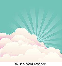 Blue sky with beautifull clouds and sun. Vector nature background