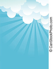 Blue sky with beautifull clouds. Vector image