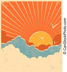 Blue sky with beautifull clouds. Vector retro poster