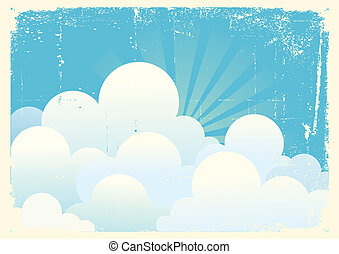 Blue sky with beautifull clouds. Vintage vector image