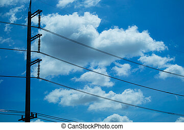 blue sky with cloud and electric pole Line in Thailand