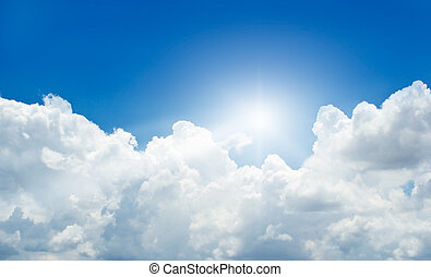 blue sky with cloud and sunbeam in summer
