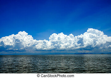 blue sky with cloud over the lake