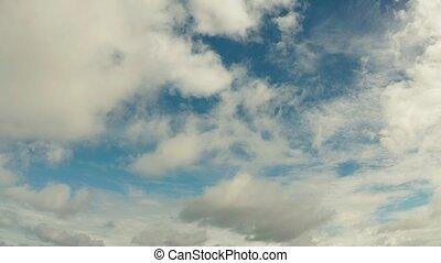 Blue sky with clouds, aerial landscape . - Clouds floating...