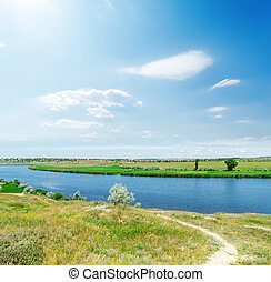 blue sky with clouds and sun over river
