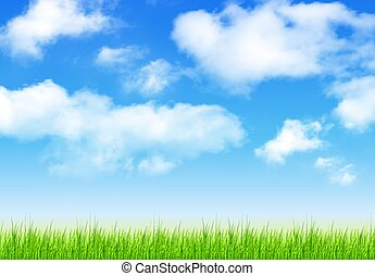 Blue sky with clouds ans grass