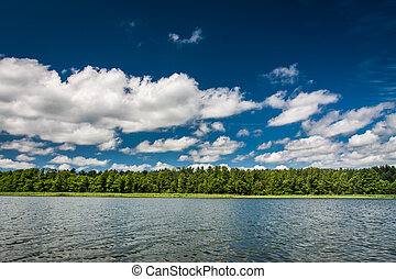 Blue sky with clouds at the lake