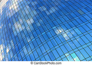 Blue sky with clouds in the office building