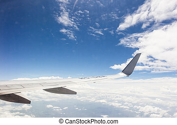 Blue sky with clouds on the airplan