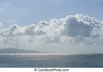 Blue sky with clouds over sea water. Nature composition.