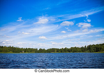 blue sky with clouds over the water