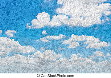 Blue sky with clouds retro style.