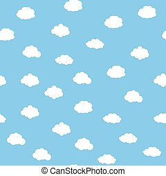 Blue sky with clouds, seamless background