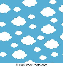 Blue sky with clouds, seamless background vector