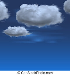 Blue sky with clouds, vector background