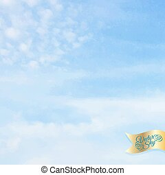 Blue sky with clouds. Vector illustration