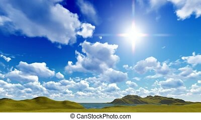 Blue sky with cloudscape in spring time