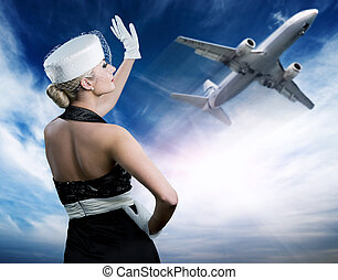 Blue sky with fluffy clouds - Sexy stewardess and flying...