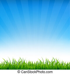 Blue Sky With Grass, With Gradient Mesh, Vector Illustration