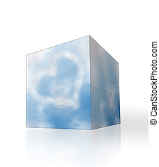 Blue sky with heart shaped clouds in the box