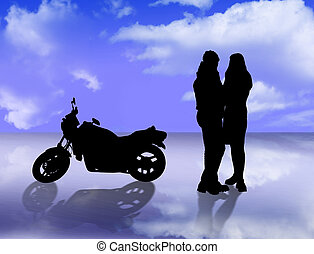 blue sky with reflectionslovers and motorbike - sky and...