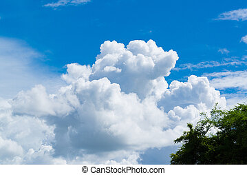 Blue sky with soft tiny cloud, cloudscape on sunny day for background or postcard.