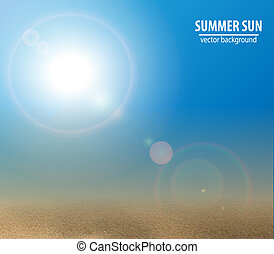 Blue sky with summer sun. Vector illustration.